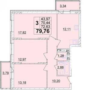Планировка 3-комнатной квартиры в ул. Фрунзе, 30